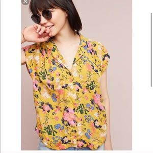 Anthropologie Maeve raffine floral blouse